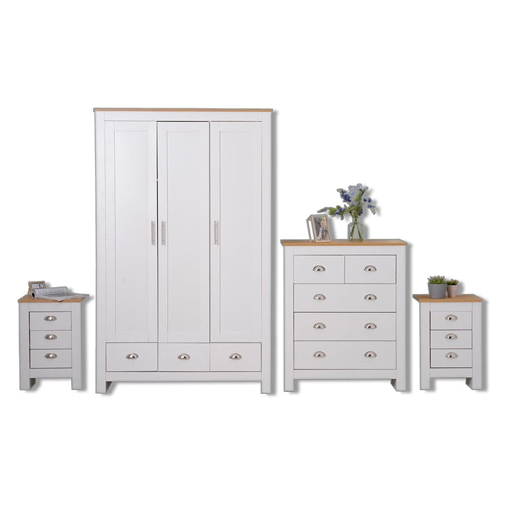 4 Piece White and Oak Bedroom Heritage Set - Furniture Maxi