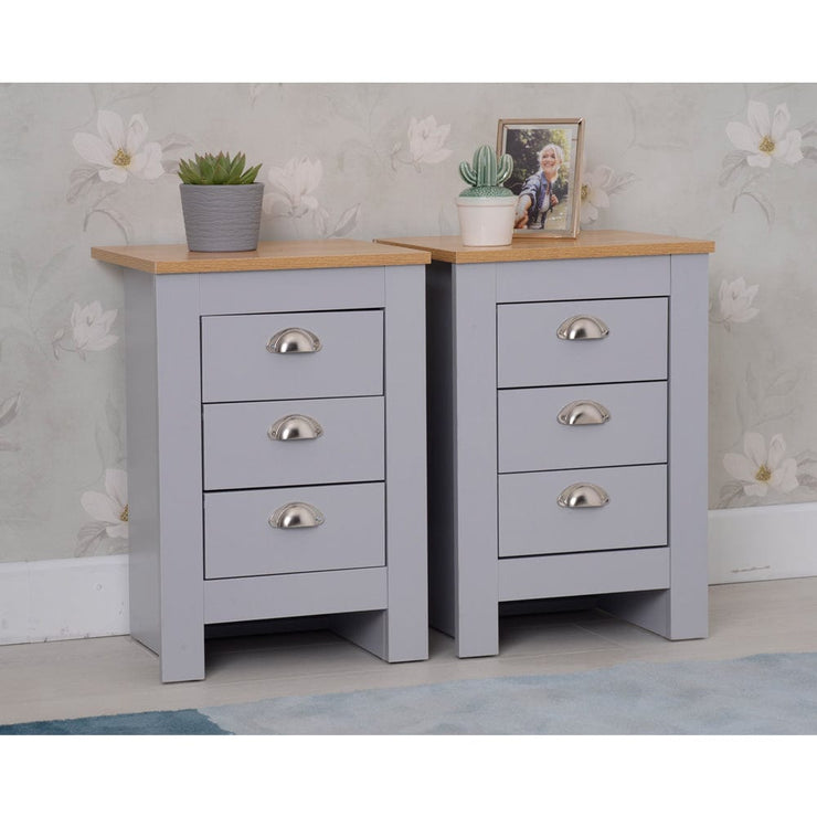 Heritage Grey Four Piece Bedroom Set Chests and Bedsides - Furniture Maxi