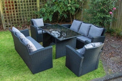 Rosen 8 Seater Black Rattan Garden Dining Table Garden Furniture Furniture Maxi