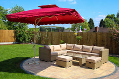 Rectangular Aluminium Parasol - Red - Furniture Maxi