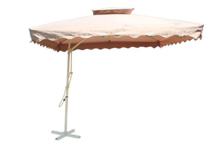 2.4m Rectangular Aluminium Parasol - Beige - Furniture Maxi
