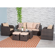 Lotus 7 Seater Rattan Garden Cube Set In Brown - Furniture Maxi