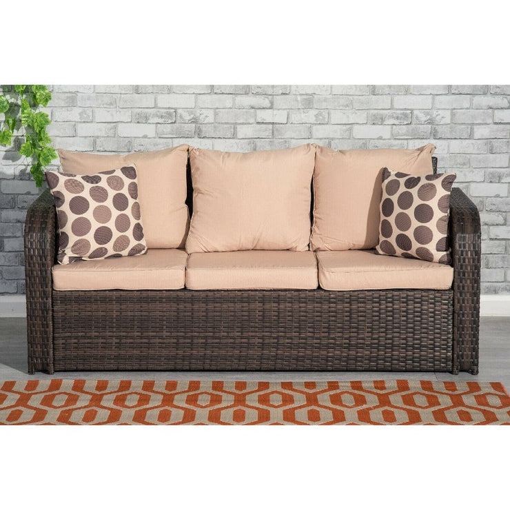 Lotus 9 Seater Rattan Garden Furniture Cube Set In Brown - Furniture Maxi