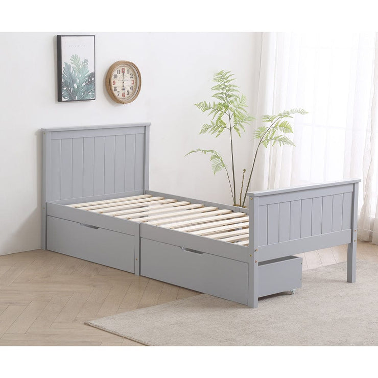 Lund Grey Wooden 2 Drawer Storage Bed - 3ft Single