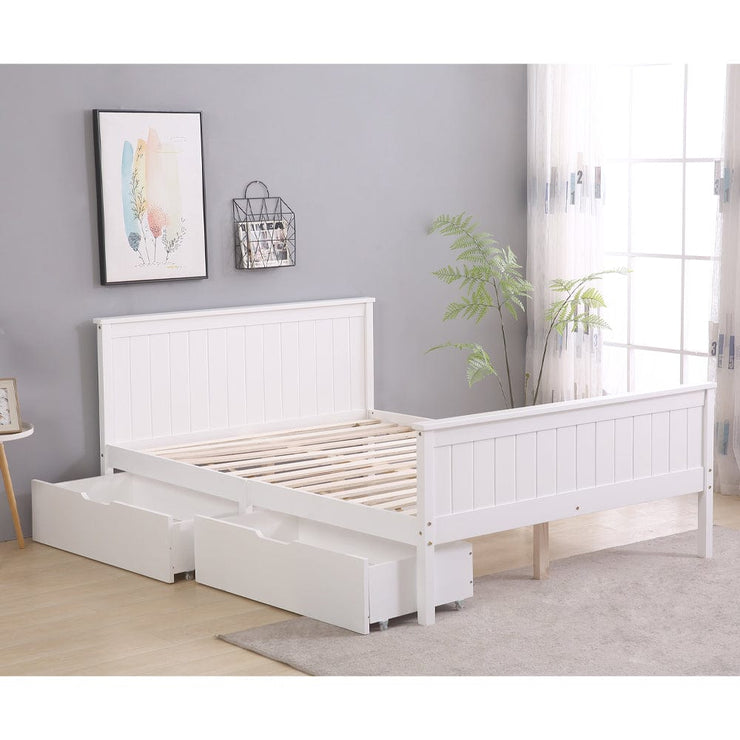 Lund White Wooden 2 Drawer Storage Bed - 4ft6 Double
