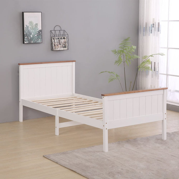 Lund White & Oak Wooden 2 Drawer Storage Bed - 3ft Single