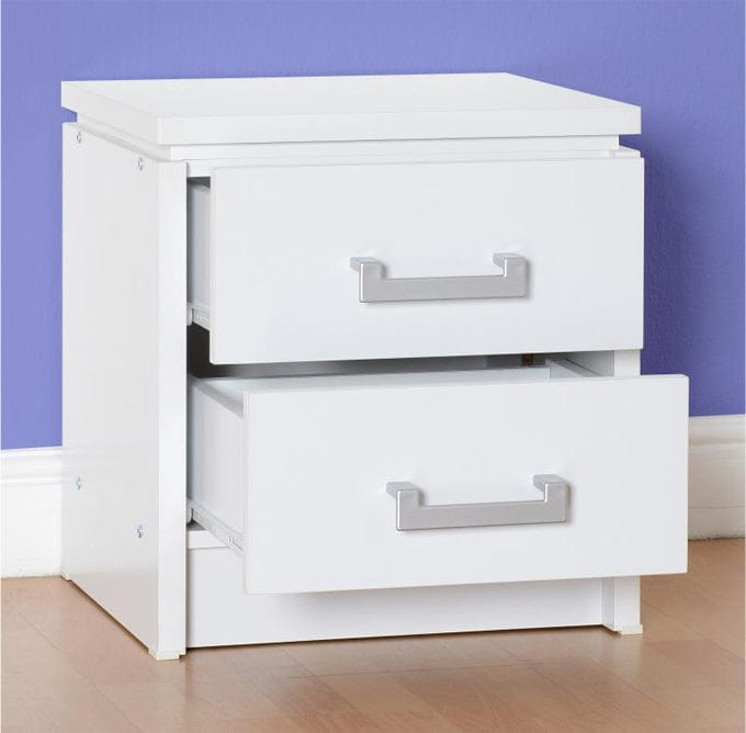 Marina 2 Drawer Bedside Table In White, Bedroom Furniture, Furniture Maxi, Furniture Maxi