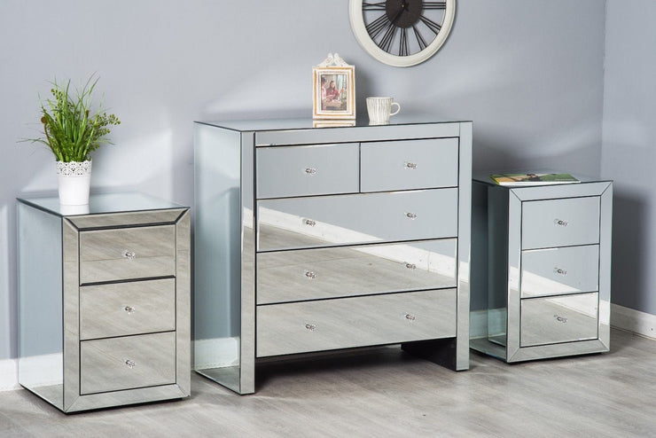 Glamour Mirrored Glass 3 Piece Drawer Bedroom Set, Bedroom Furniture, Furniture Maxi, Furniture Maxi