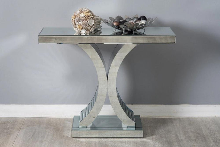 Glamour Mirrored C Shape Console Hallway Side Table - Furniture Maxi