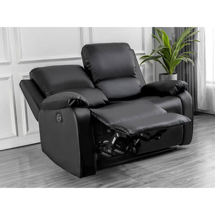 Palermo 3+2+1 Black Leather Recliner Sofa Set