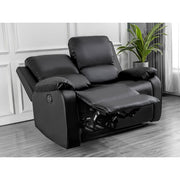 Palermo 3+2 Black Leather Recliner Sofa Set