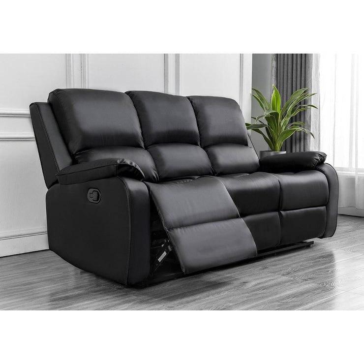 Palermo Black Leather 3 Seater Recliner Sofa