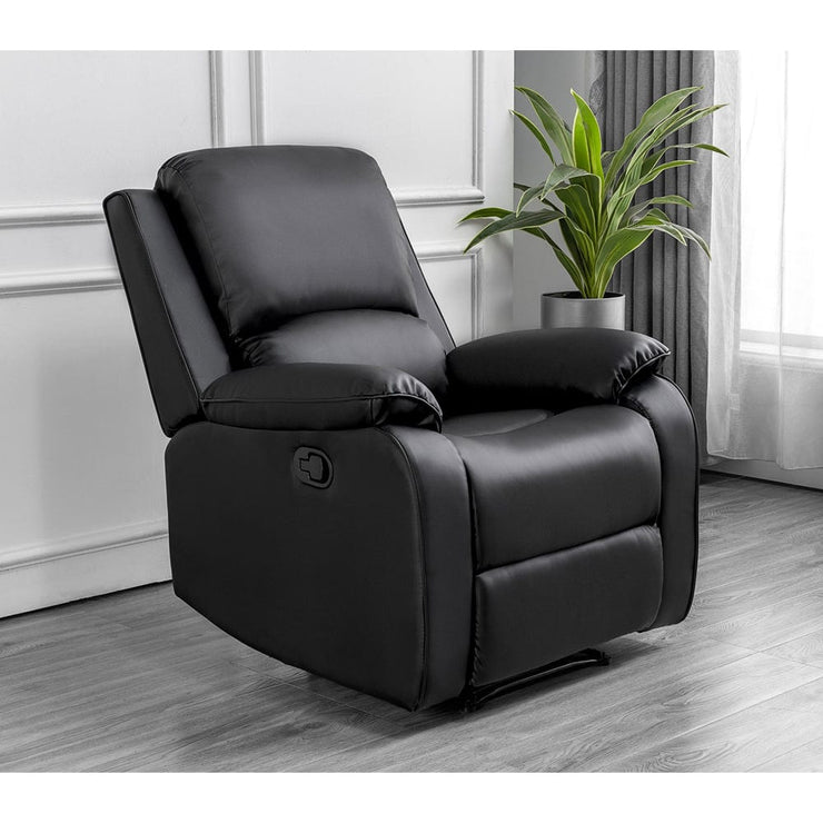 Palermo Black Leather Recliner Armchair