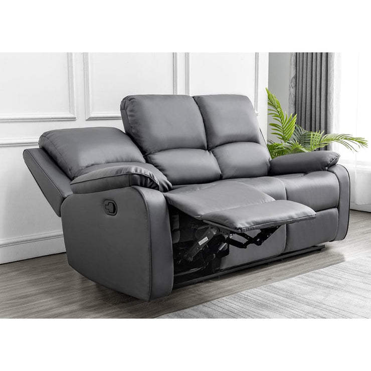 Palermo 3+2+1 Grey Leather Recliner Sofa Set