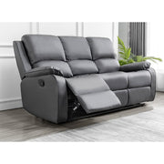 Palermo Grey Leather 3 Seater Recliner Sofa