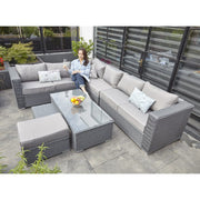 Papaver 8 Seater Rattan Furniture Garden Sofa Set In Grey, Garden Furniture, Furniture Maxi, Furniture Maxi