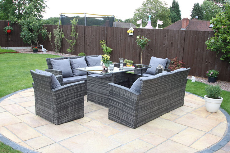 Rosen 8 Seater Rattan Garden Dining Set - Furniture Maxi
