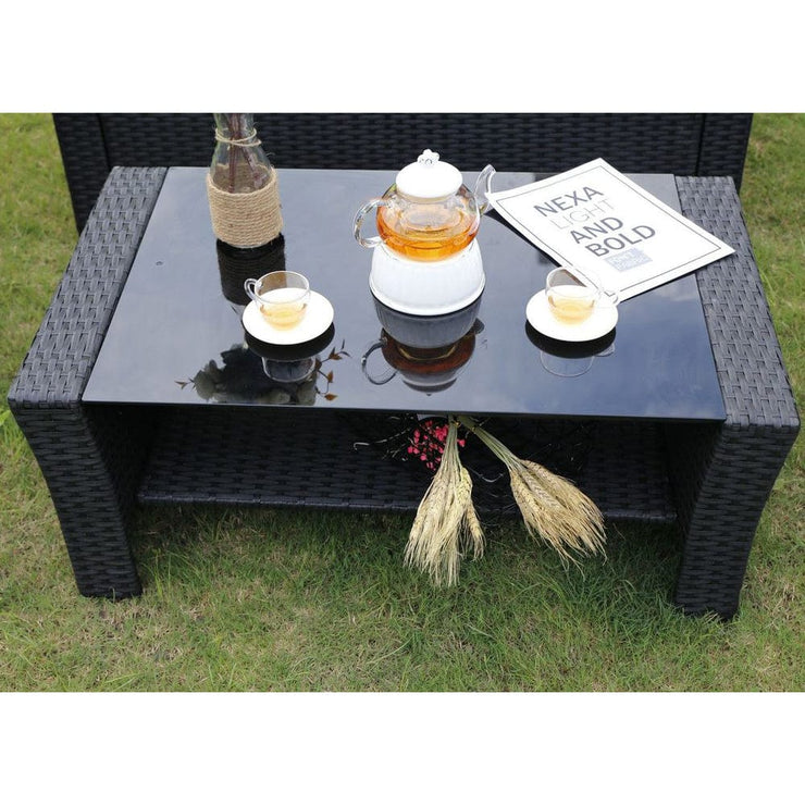 Rosen 4 Seater Rattan Garden Furniture Set In Black, Garden Furniture, Furniture Maxi, Furniture Maxi