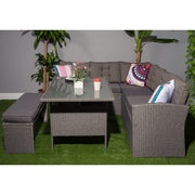 Rosen Dark Grey 8 Seater Rattan Corner Garden Sofa Set, Garden Furniture, Furniture Maxi, Furniture Maxi