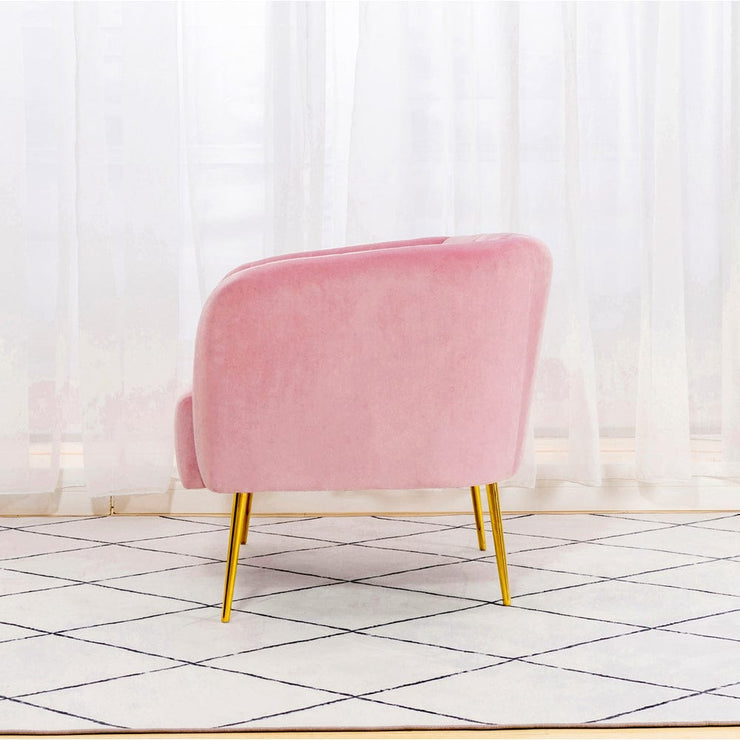 Russell Velvet Armchair In Pink - Furniture Maxi