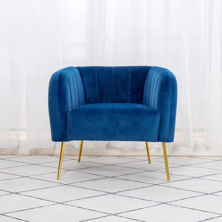 Russell Velvet Armchair In Blue - Furniture Maxi