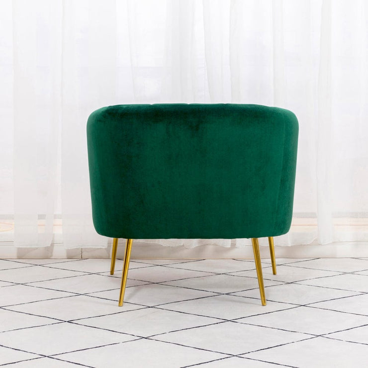 Russell Velvet Armchair In Green - Furniture Maxi