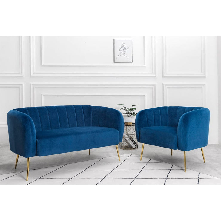 Russell Velvet Two Seater Sofa In Blue - Furniture Maxi