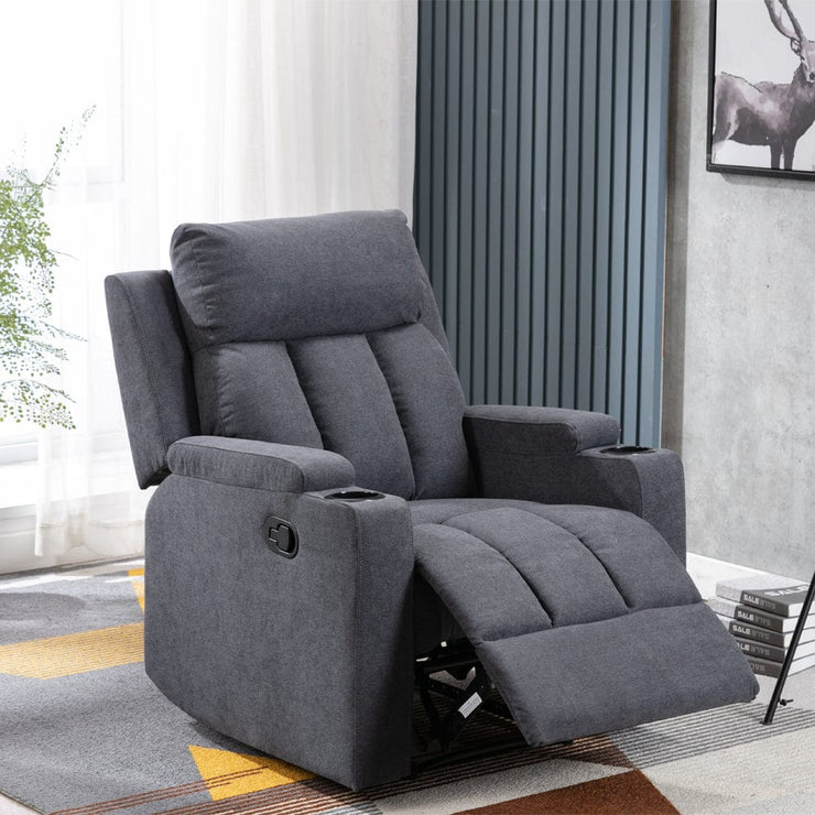 Sheffield Fabric Manual Recliner Armchair In Slate Grey
