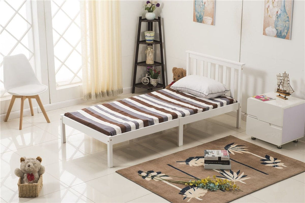 3FT Single Bed Frame White Wooden Finish | Furniture Maxi