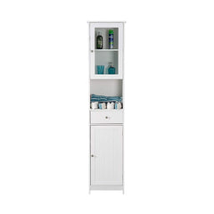 Tallboy Cabinet Double Door Wall Mounted White Storage