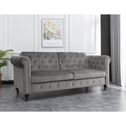 Toronto 3 Seater Chesterfield Style Velvet Sofa Bed In Grey