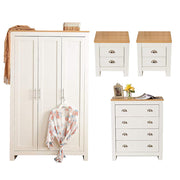 4 Piece Heritage Bedroom Furniture Set Wardrobe Chest Bedside Table - White/Oak - Furniture Maxi