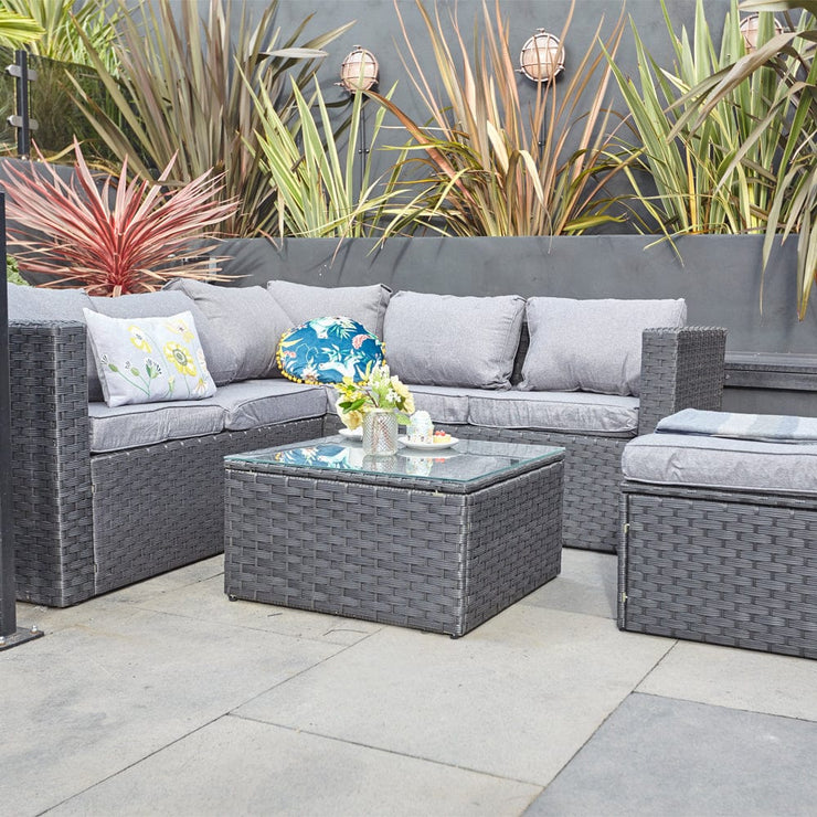 Vancouver 6 Seater Modular Rattan Sofa Set In Black