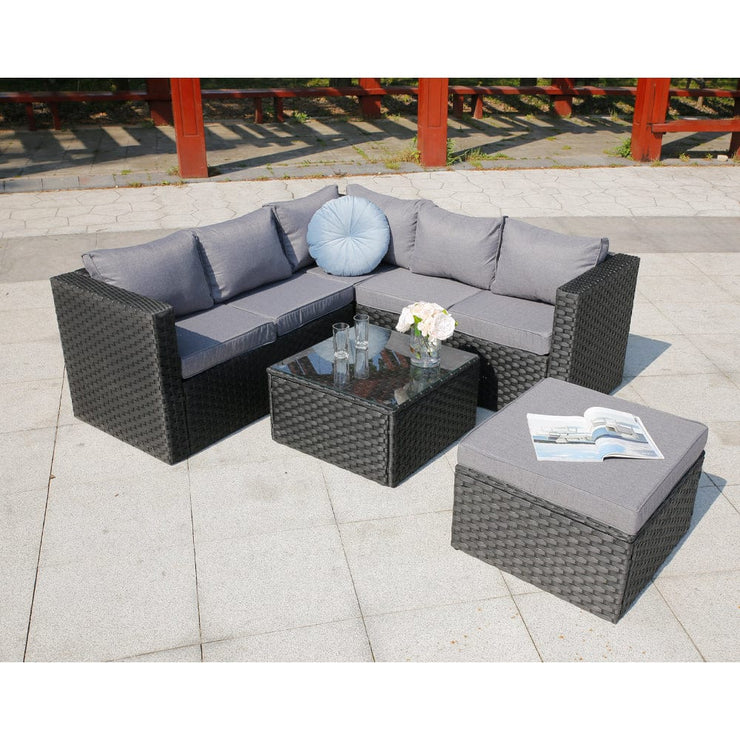 Vancouver 6 Seater Modular Rattan Sofa Set In Black - Furniture Maxi
