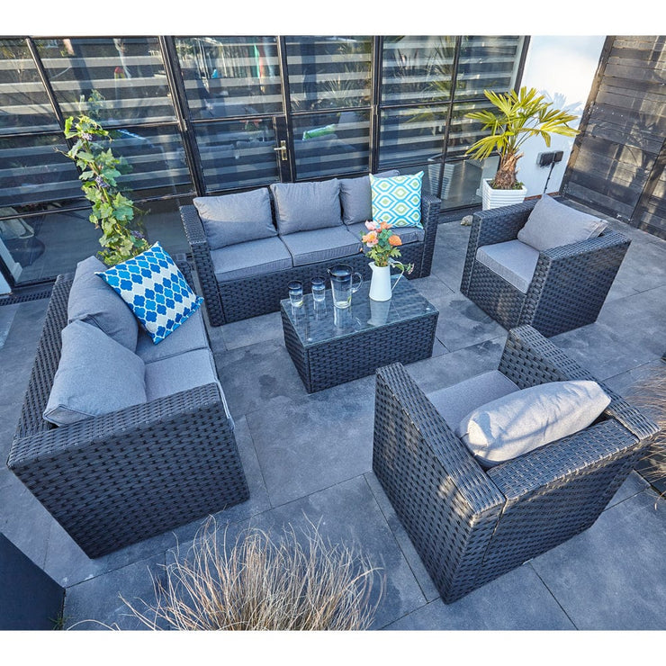 Vancouver 7 Seater Rattan Garden Sofa Set In Black, Garden Furniture, Furniture Maxi, Furniture Maxi