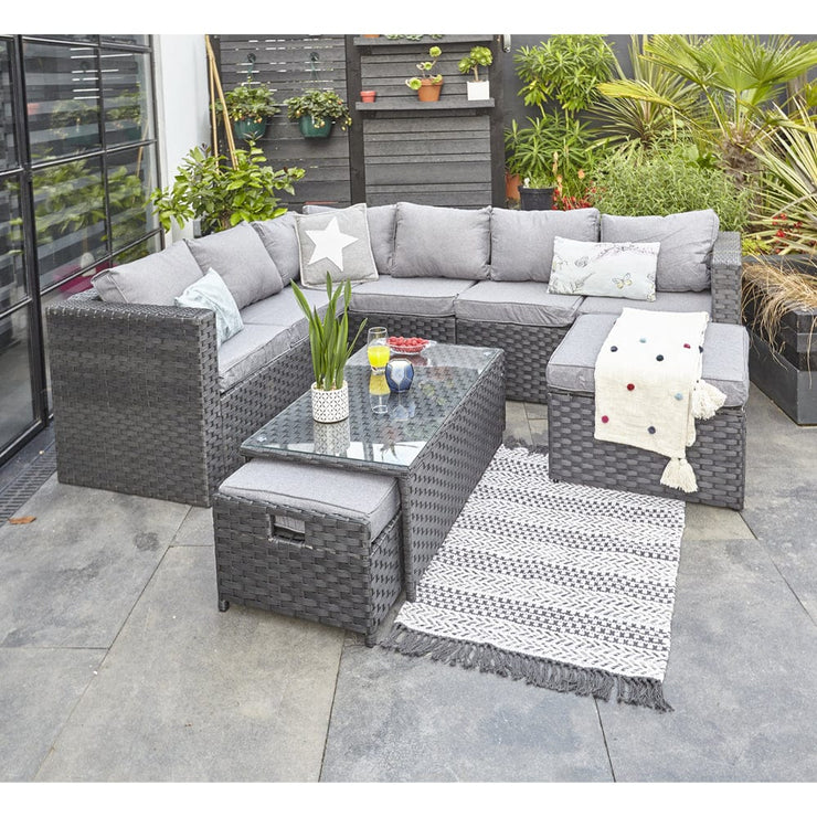 Vancouver 9 Seater Corner Rattan Garden Set In Black
