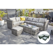 Vancouver 9 Seater Corner Rattan Garden Set In Grey - Furniture Maxi