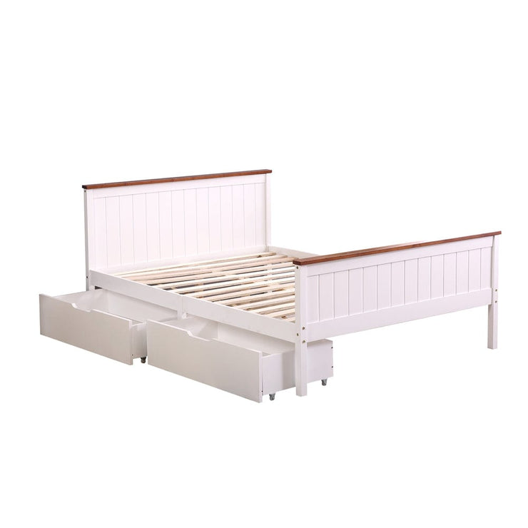 Lund White & Oak Wooden 2 Drawer Storage Bed - 4ft6 Double