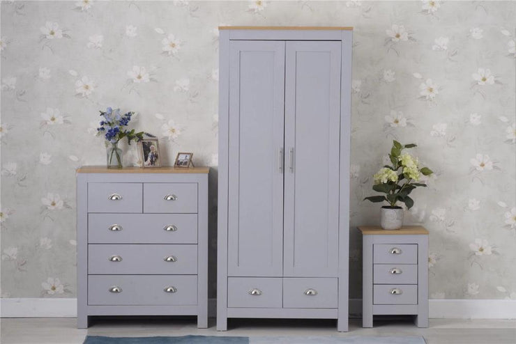 Heritage Set of Three Bedroom Piece with Grey and Oak Finish, Bedroom Furniture, Furniture Maxi, Furniture Maxi