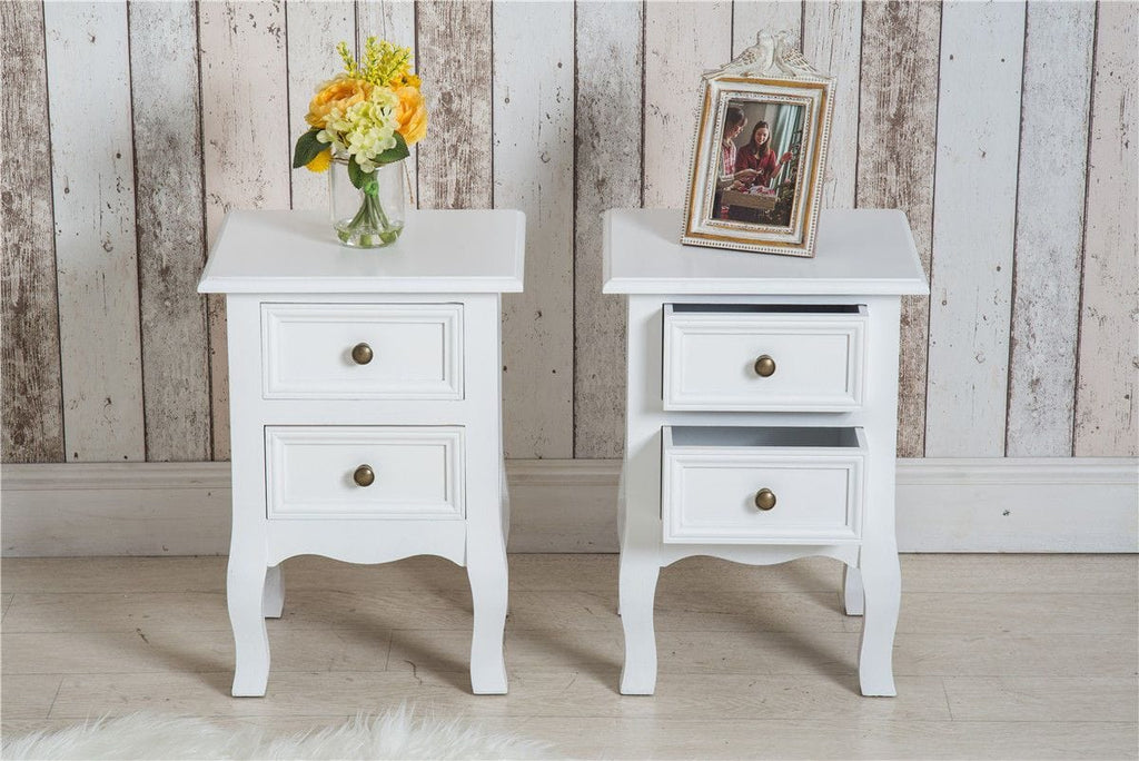 White 2 Drawer Bedside Table with Cabriole legs (Set of 2) | Furniture Maxi