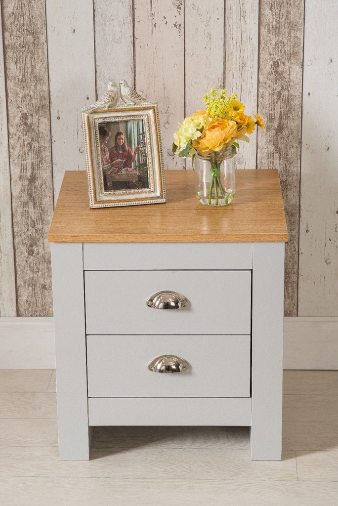 Heritage 2 Drawer Grey Bedside Table Night Stand - Furniture Maxi
