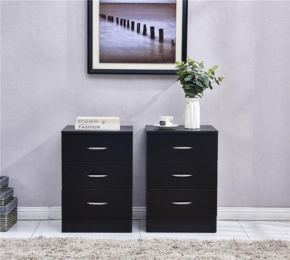Pair of Black Chest of 3 Drawer Bedside Table | Furniture Maxi