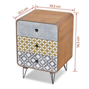 Brown Bedside Cabinet of Three Drawers - Furniture Maxi