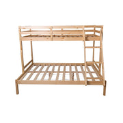 3 Sleeper Natural Pine Wood Triple Bunk Bed - Furniture Maxi