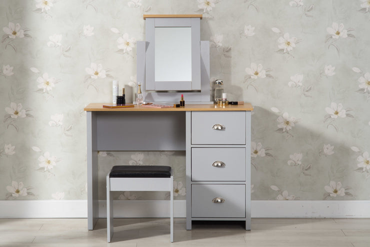 Heritage Grey and Oak Dressing Table and Stool - Furniture Maxi