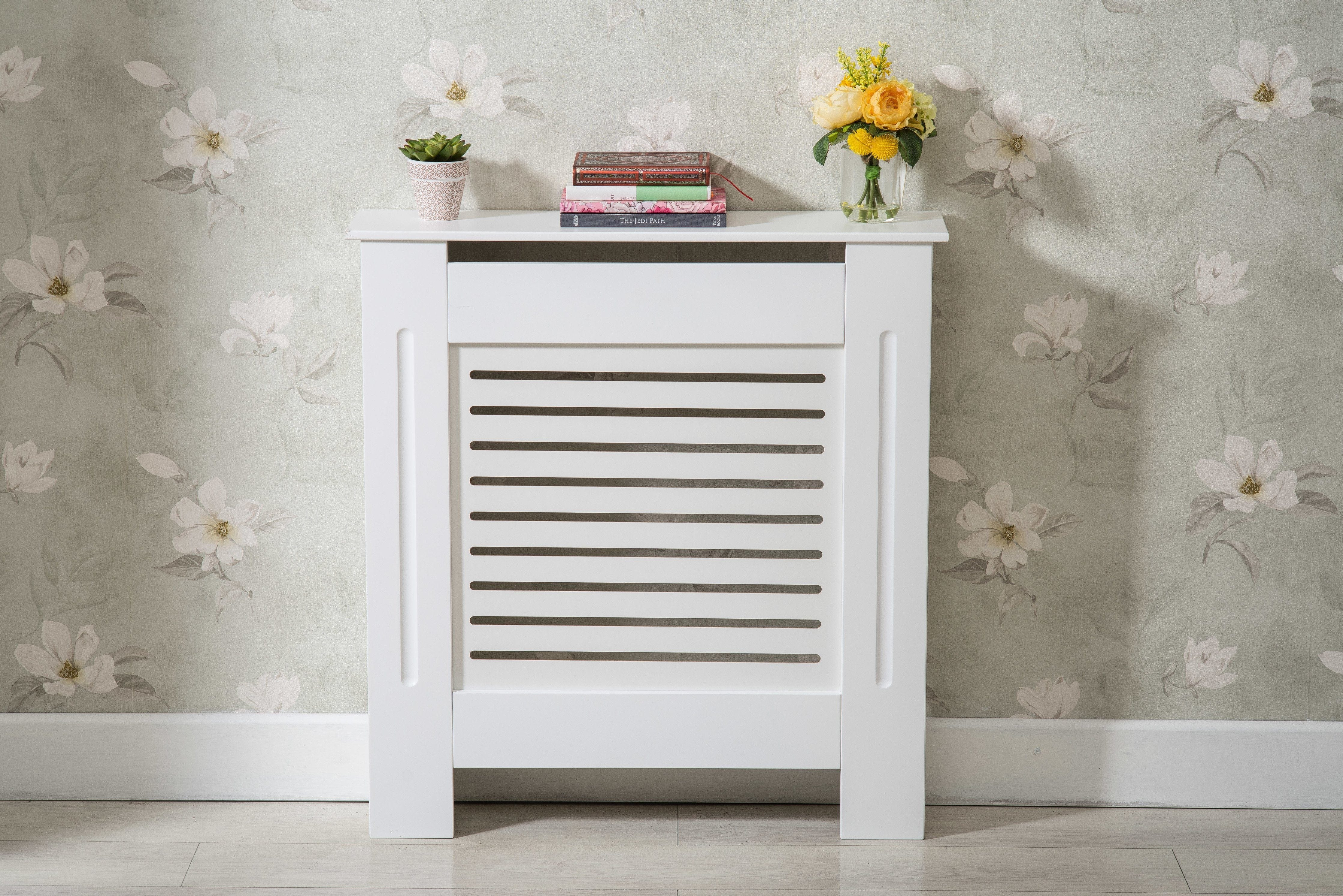 White modern wooden radiator grill cover furniture maxi