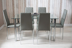 Rectangle Glass Dining Table and Grey Faux Leather Chairs | Furniture Maxi