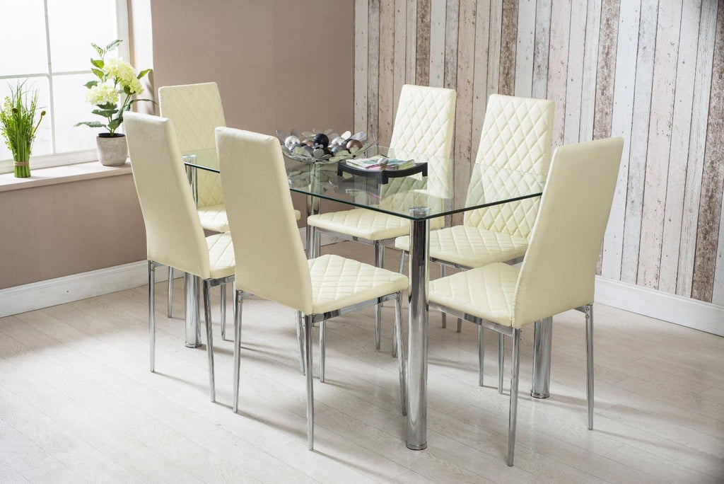 Rectangle Glass Dining Table and Cream Faux Leather Chairs | Furniture Maxi
