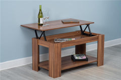 Hastings Lift Up Top Walnut Coffee Table with Storage & Shelf - Furniture Maxi