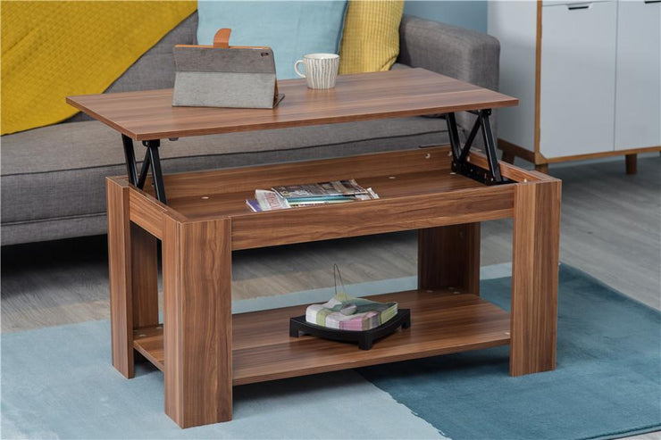 Hastings Lift Up Top Walnut Coffee Table with Storage & Shelf, Living Room Furniture, Furniture Maxi, Furniture Maxi